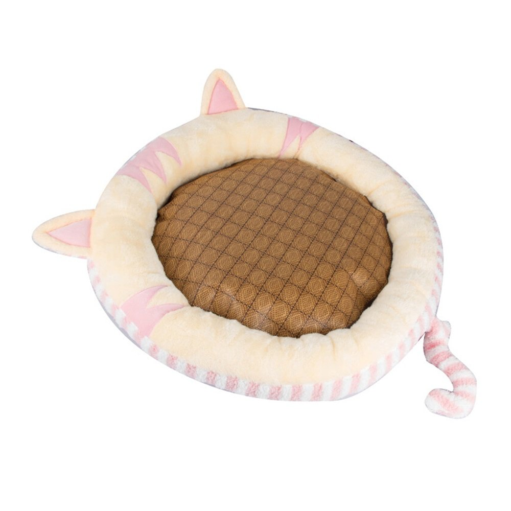 PINK M PINK M FXNN Pet Bed Full Set of Washable Autumn and Winter Durable bite-Resistant pet Supplies (color   Pink, Size   M)
