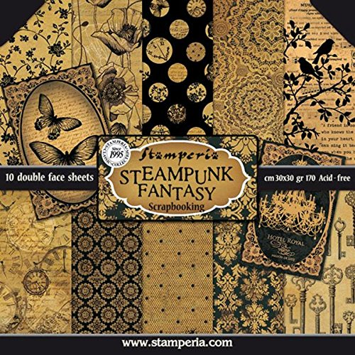 10 paper Scrapbooking Kit Steampunk Fantasy stamperia - Buy Online