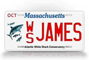 SignsAndTagsOnline Customized Massachusetts Atlantic White Shark Conservatory State License Plate MA Replica Personalized Text Auto Tag