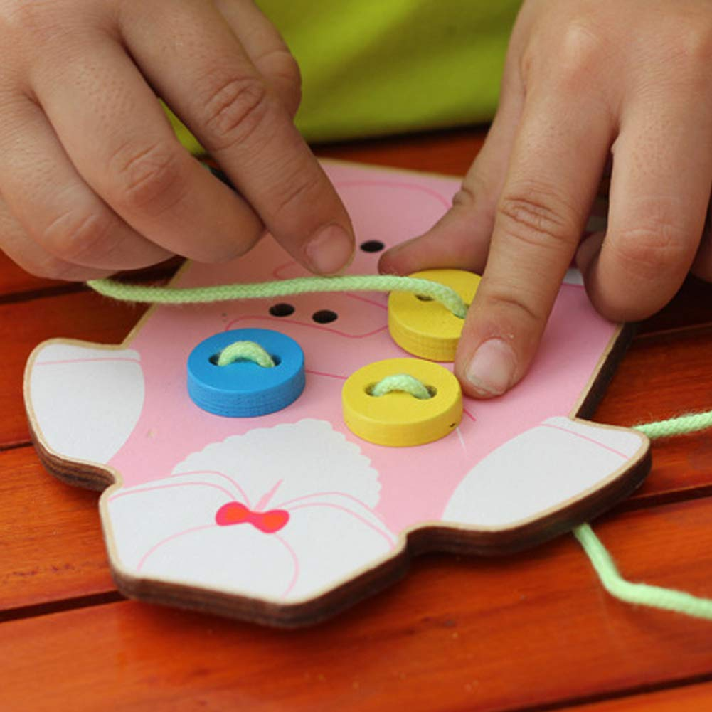 potato001 Kids Children Wooden Sew-on Buttons Lacing Board Toddler Early Education Toy Green by potato001 (Image #5)