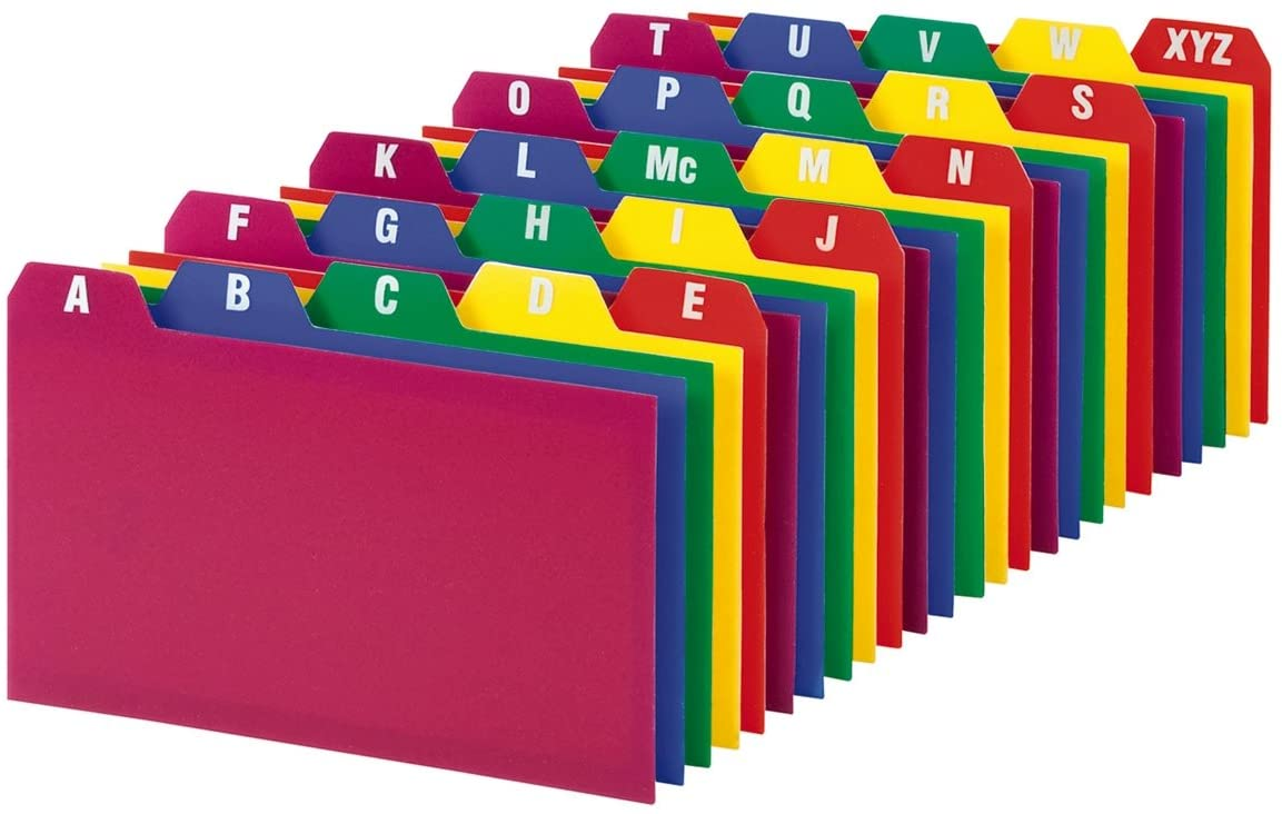 25 per Set Assorted Colors Oxford Poly Index Card Guide Set 73153 1//5 Inch Cut Tabs 3 x 5 Inches A-Z