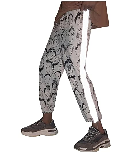 TootlessMen Patterned Reflective Beam Foot Trousers Jogging Sport Amazing Mens Patterned Joggers