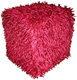 Design Accents Plush Hand Woven Pouf, 18-Inch by 18-Inch by 18-Inch, Red