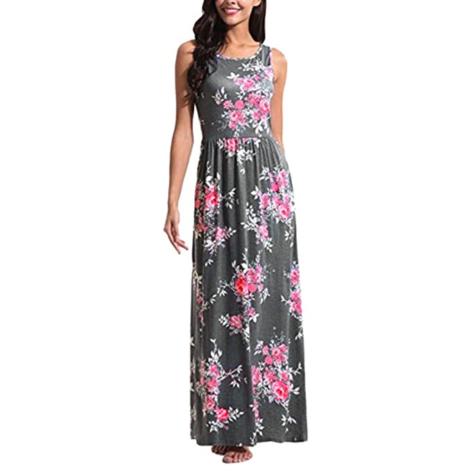 12496717626f TiTCool HOT! Women Short Sleeve Loose Floral Print Long Maxi Casual Dress  with Pockets at Amazon Women s Clothing store