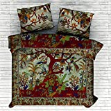 4 PC Set Doona Bedding Boho Indian Tree of Life Duvet Cover Reversible Doona Cover with 1 pc Tapestry Queen Size Bedsheet Elephant Mandala Wall Hanging Beach Throw & Pillow Covers Hippie