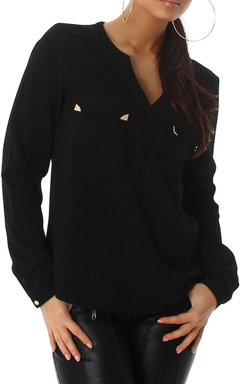 Voyelles - Camisas - Túnica - Básico - cuello mao - para mujer negro 38: Amazon.es: Ropa y accesorios