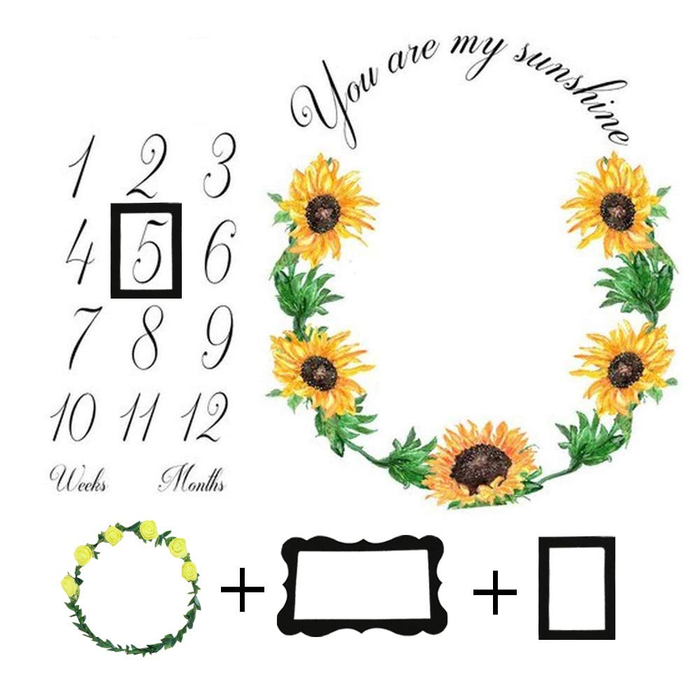 Baby Monthly Milestone Blanket Newborn Girls Photo Props Shoots Backdrop Personalized Sunflower Sun You are My Sunshine Photography Growing Infants Toddlers Swaddle Blanket