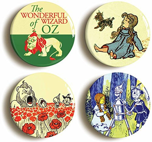 And Costume Scarecrow Tinman (4 x Wizard Of Oz Buttons Pins (Size 1inch Diameter) Dorothy Scarecrow Tin)