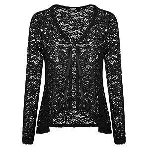 Concep Oversized Cardigan Jacket Women's Sexy Lace Crochet Open Front Bolero Shrug for Dress (Black, XXL)