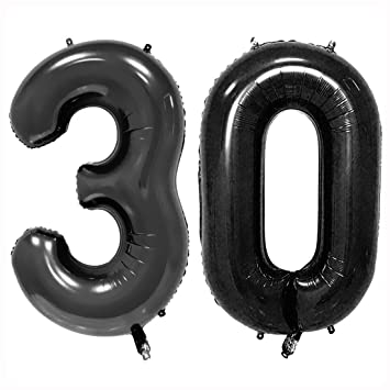 40inch Black 30 Helium Jumbo Digital Number Balloons 30th Birthday Decoration For Women Or Men