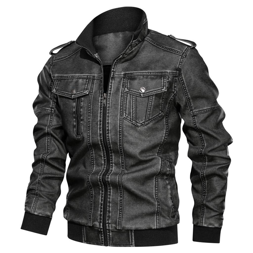 Jacket&Coat for Men's Plus Size Denim Jacket Loose Solid Color Washed Leather Jacket with Stand Collar Top L-6XL by SSDXY