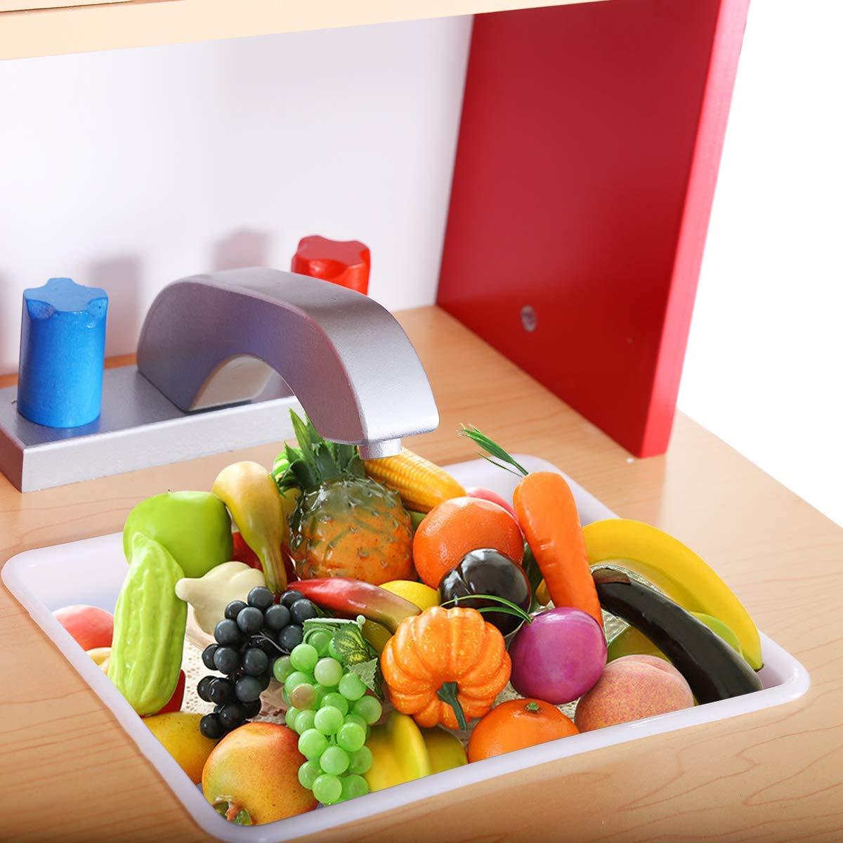 COSTWAY Cucina per Bambini Cucina Giocattolo in Legno con Accessori Riproduzione Perfetta