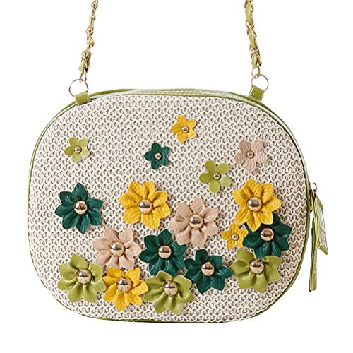 Zhuhaitf Ventas calientes Fashion High Quality Womens Grass Flowers Woven Beach Bags Turf Knotted Rivets Crocheted Bag Beige