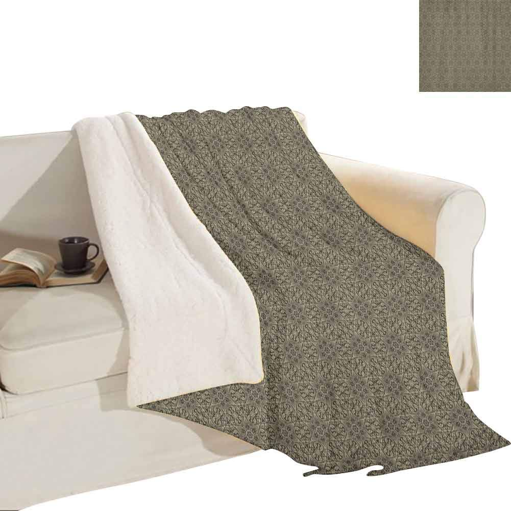 """Miles Ralph Damask Plush Lamb Blanket Retro Style Abstract Composition with Curvy Floral and Geometrical Elements Outdoor Bedroom Blackout Curtain 60""""x80"""" Chocolate Khaki"""