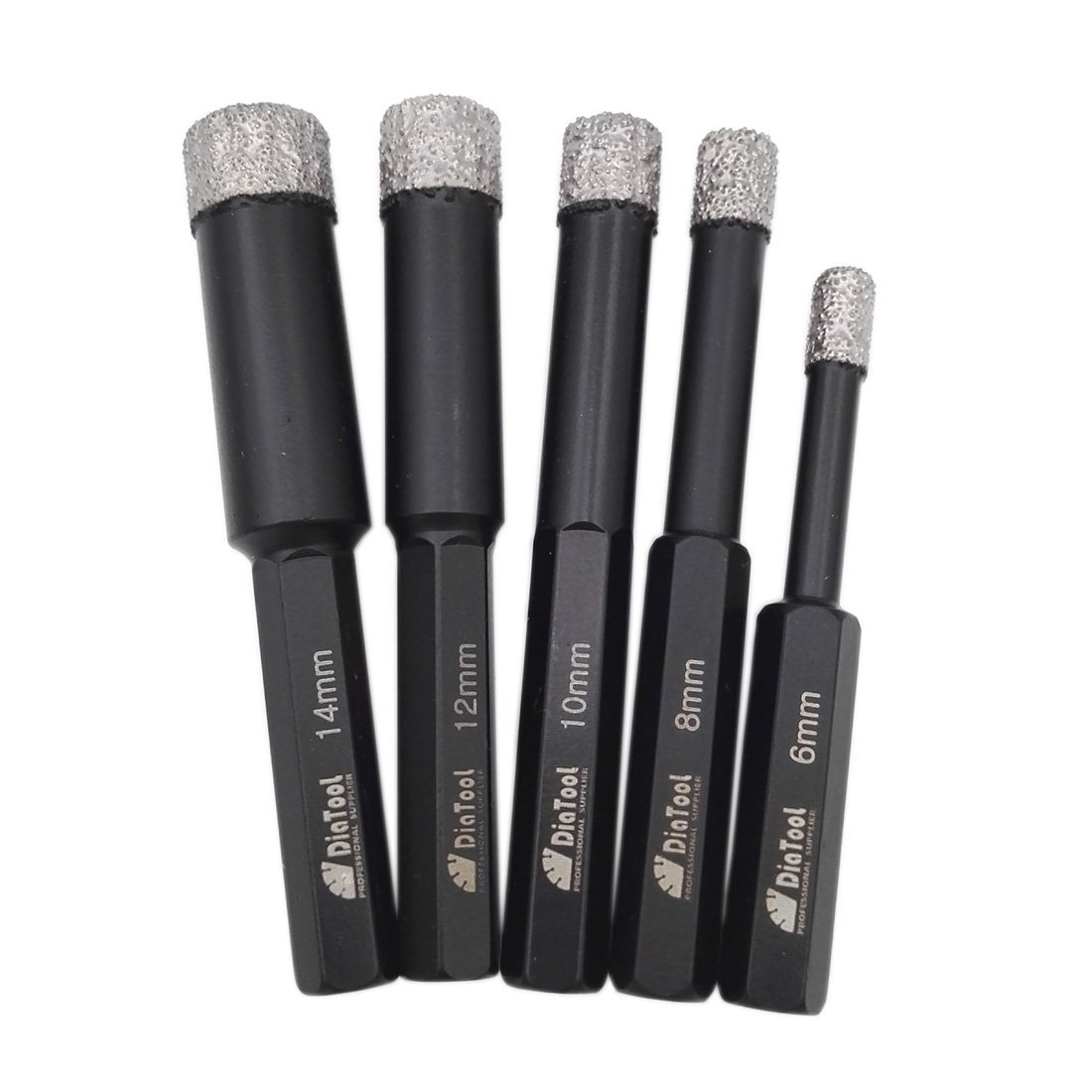 SHDIATOOL Dry Diamond Drill Bits with 3/8 Inch Hex Shank Set of 5 pieces 6 8 10 12 14mm for Granite Marble Ceramic Tile Vacuum Brazed Hole Saws by SHDIATOOL