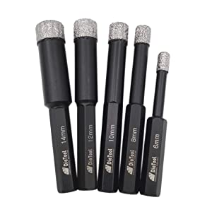 SHDIATOOL Dry Diamond Drill Bits with 3/8 Inch Hex Shank Set of 5 pieces 6 8 10 12 14mm for Granite Marble Ceramic Tile Vacuum Brazed Hole Saws