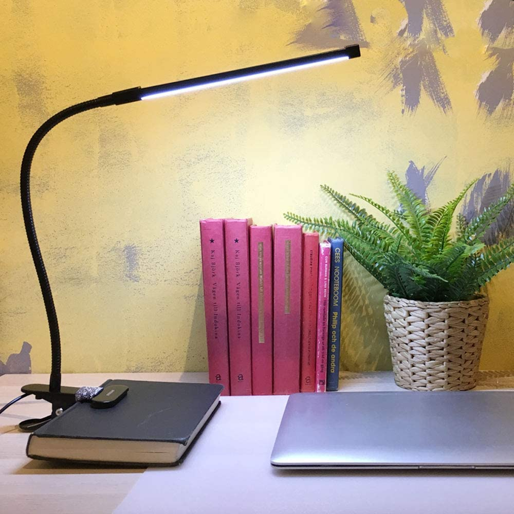 LED Reading Light, Clamp Desk Lamp, 3 Modes 10 Dimming Levels Clip Light, Flexible Eye-Care Clamp Light for Bed Reading, Studying, Working, Bedroom, Office, Adapter Included,8W,Black