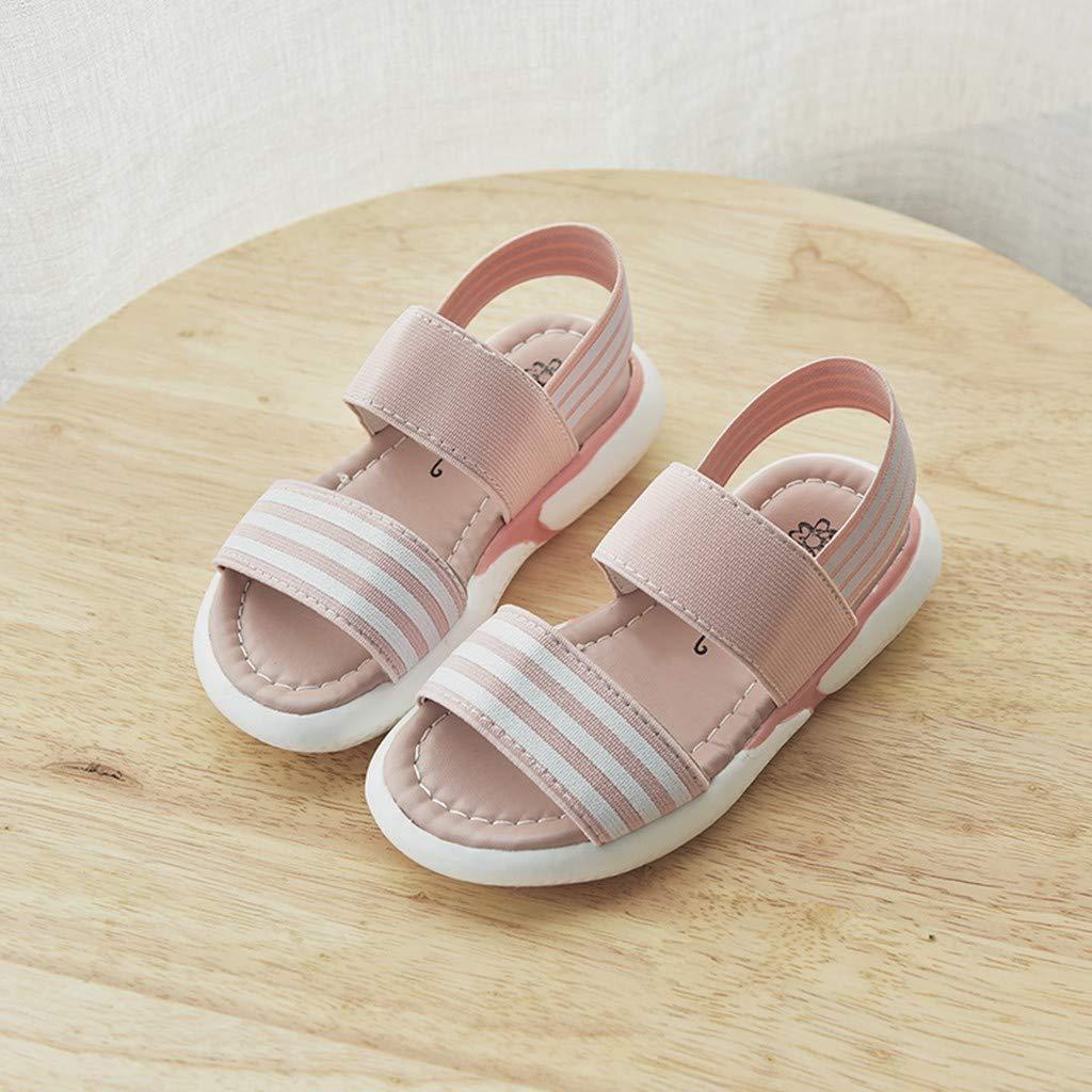 ❤️Rolayllove❤️ Baby Toddler Girls Stripe Open Toe Strap Sandals Summer Flat Princess Shoes Toddler//Little Kid
