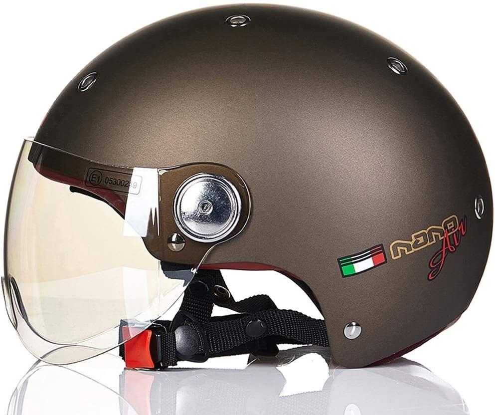 男性と女性のためのオートバイのヘルメット四季ハーフヘルメットカバーカーヘルメットラブリーライト 保護 (Color : 褐色, Size : XL)