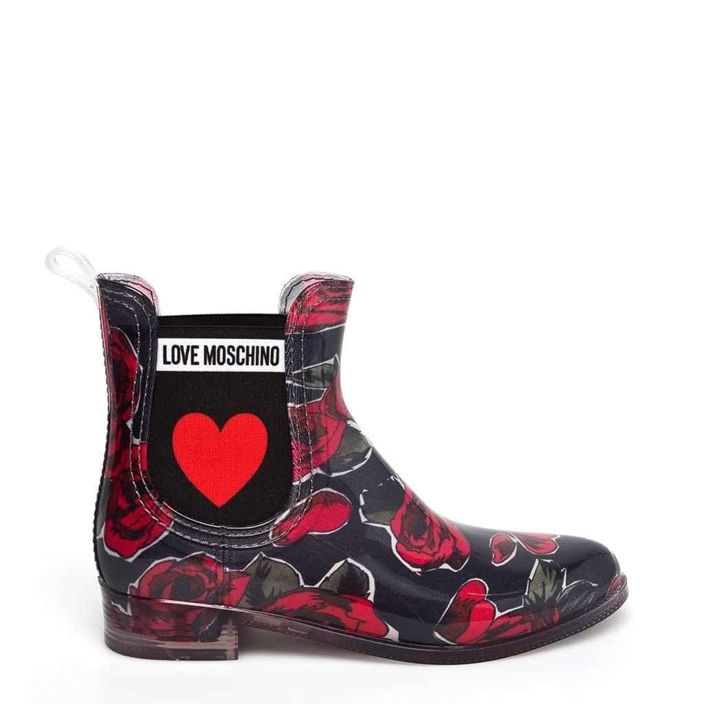 Red and Black Love Moschino Womens Ankle Boots JA21013G16IM
