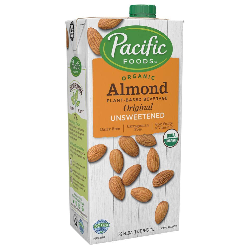 Pacific Foods Organic Original Almond Milk,Unsweetened,32 Oz,2 Pack