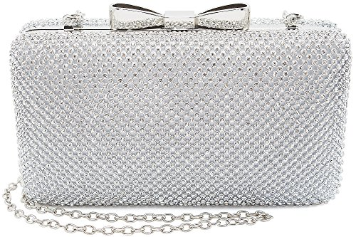 Bow Clutches Women Evening Bag for Wedding Prom Cocktail Party Rhinestone Crystal Clutch Purse (Womens Bow Clutch)