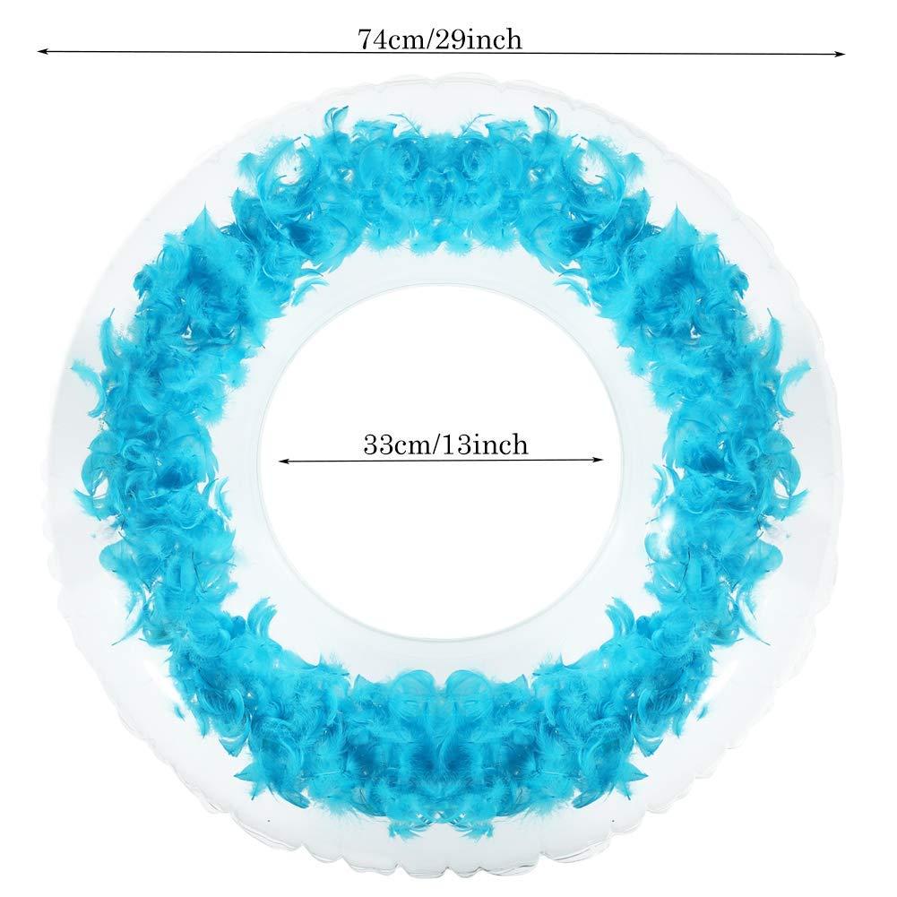 Shinelee Aufblasbarer Schwimmring Gefieder Schwimmring f/ür Erwachsene Blau
