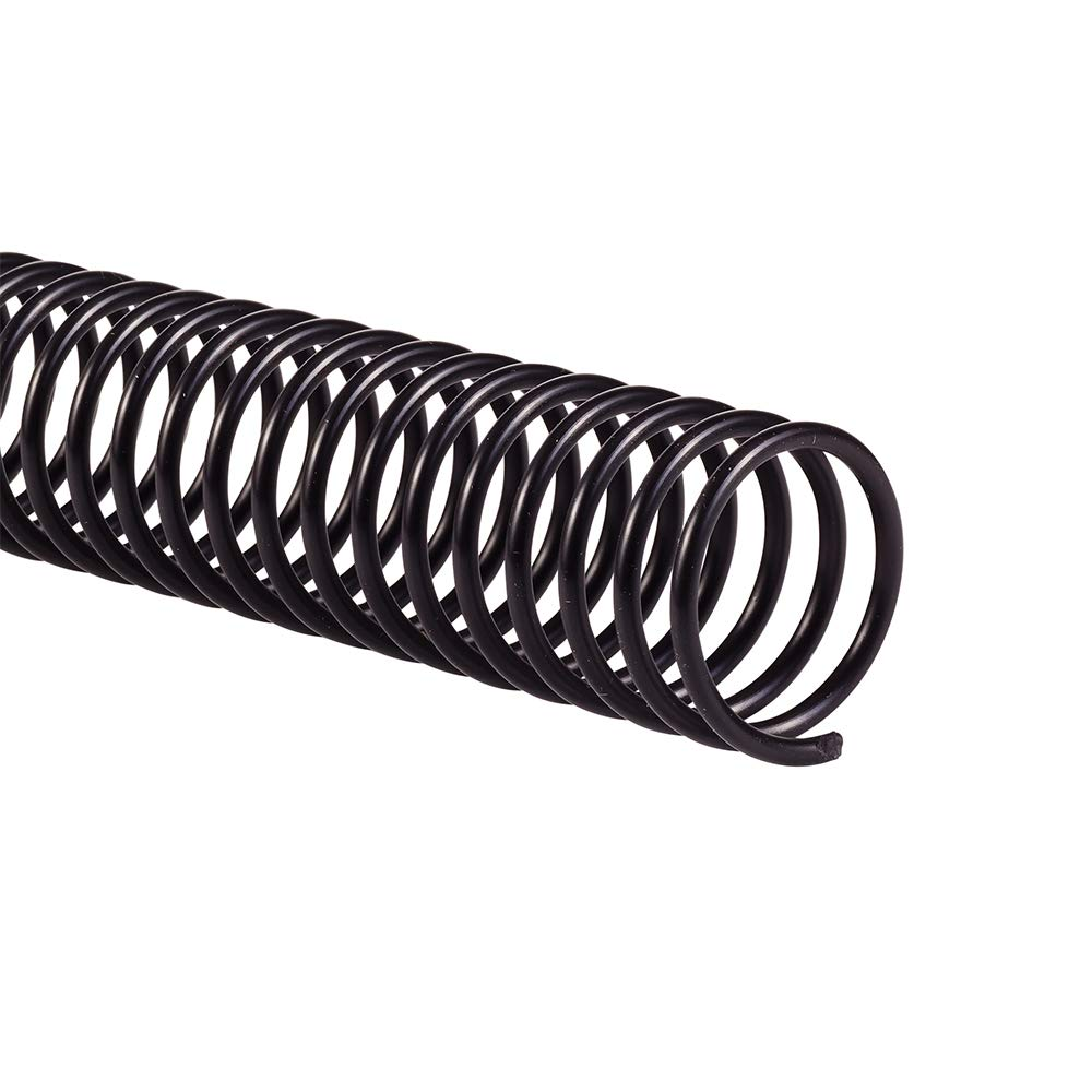 GBC Binding Spines / Spirals / Coils, 22mm, 175 Sheet Capacity, 4:1 pitch, Color Coil, Black, 100 Pack (9665100G) by GBC