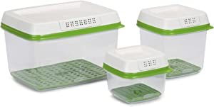 Rubbermaid FreshWorks Produce Saver Food Storage Containers Set -2.5 Cup, 6.3 Cup, 17.3 Cup