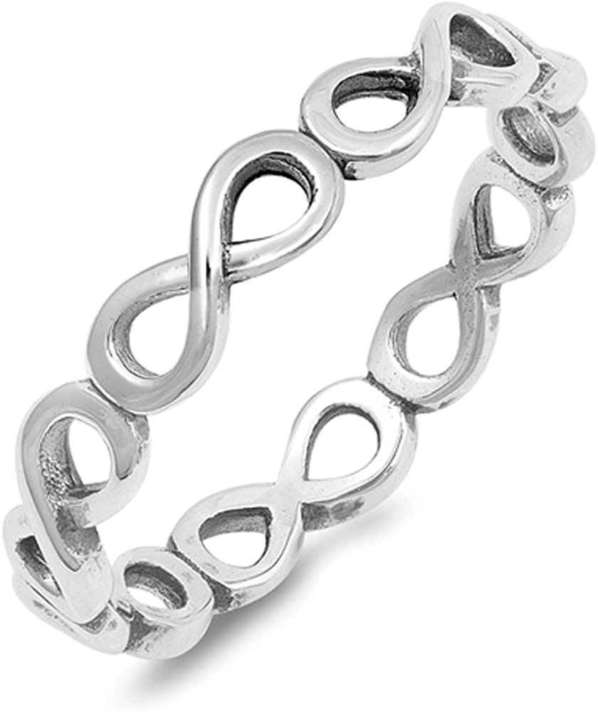 Eternity Ring New .925 Sterling Silver Stackable Band