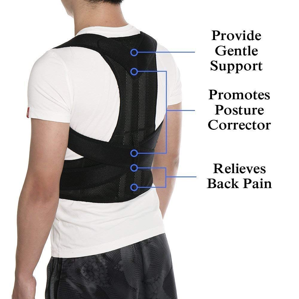 Posture Corrector for Women and Men Fully Adjustable Brace to Improve Bad Posture, Lumbar, Back Pain Relief (L) by ZSZBACE