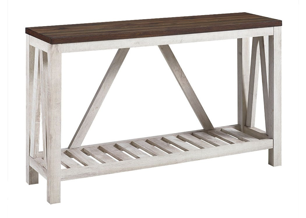 New 52 Inch A-Frame Rustic Entry Table - Dark Walnut Top with White Oak Finish by Home Accent Furnishings