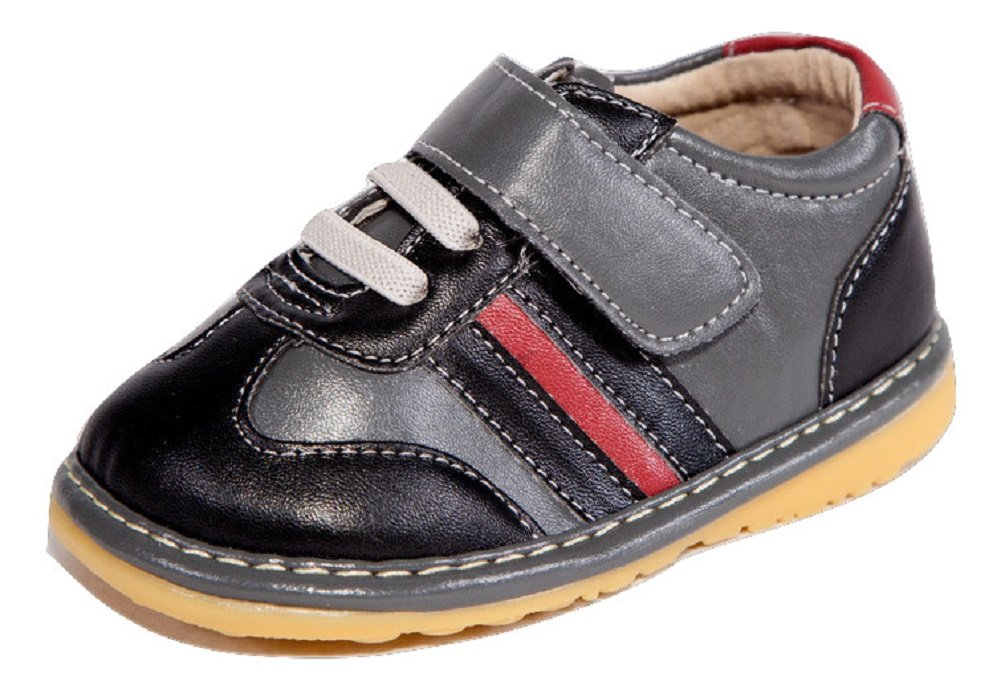 Black and Gray with Red Stripe Boy Sneaker Squeaky Shoes (6)