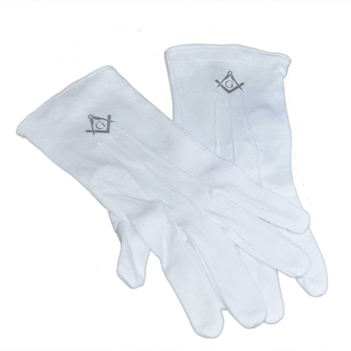 One Size Mens Plain White Cotton Gloves with Silver Masonic Design with G