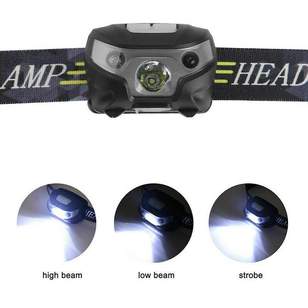 ultrahell Handsch/üttelsensor wiederaufladbar IPX4 wasserdicht per USB wiederaufladbar Sunwan LED-Stirnlampe 10000 Lumen 3 Lichtmodi