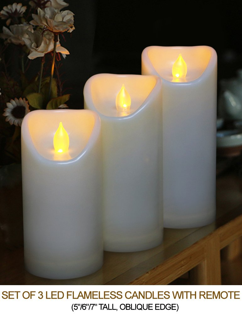 HOME MOST Set of 3 LED Pillar Candles Battery Operated (IVORY, 5''/6''/7'' Tall, Oblique Edge)- Flameless Candles Timer Outdoor Candles Waterproof - Electric Candles Battery Operated Plastic Candles Bulk by HOME MOST (Image #2)