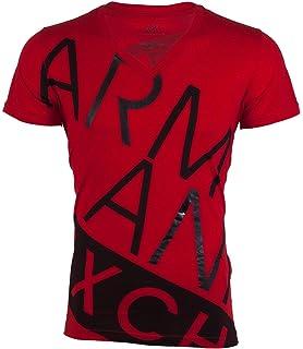 e36d53fb866355 Armani Exchange BIAS Mens T-Shirt Premium Slim Fit RED Black Casual Designer