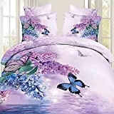Charming Butterfly and Purple Flower Print 4-Piece 100% Cotton Duvet Cover Sets Modern Bedding Collections,Full