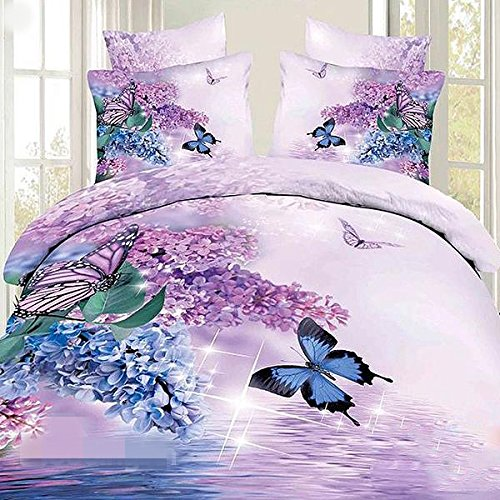 Charming Butterfly and Purple Flower Print 4-Piece 100% Cotton Duvet Cover Sets Modern Bedding Collections,Queen