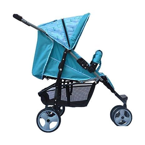 ZhiGe Silla de Paseo Triciclo del bebé reclinable Carro de Tres Ruedas toldo Lleno chocante Cochecito