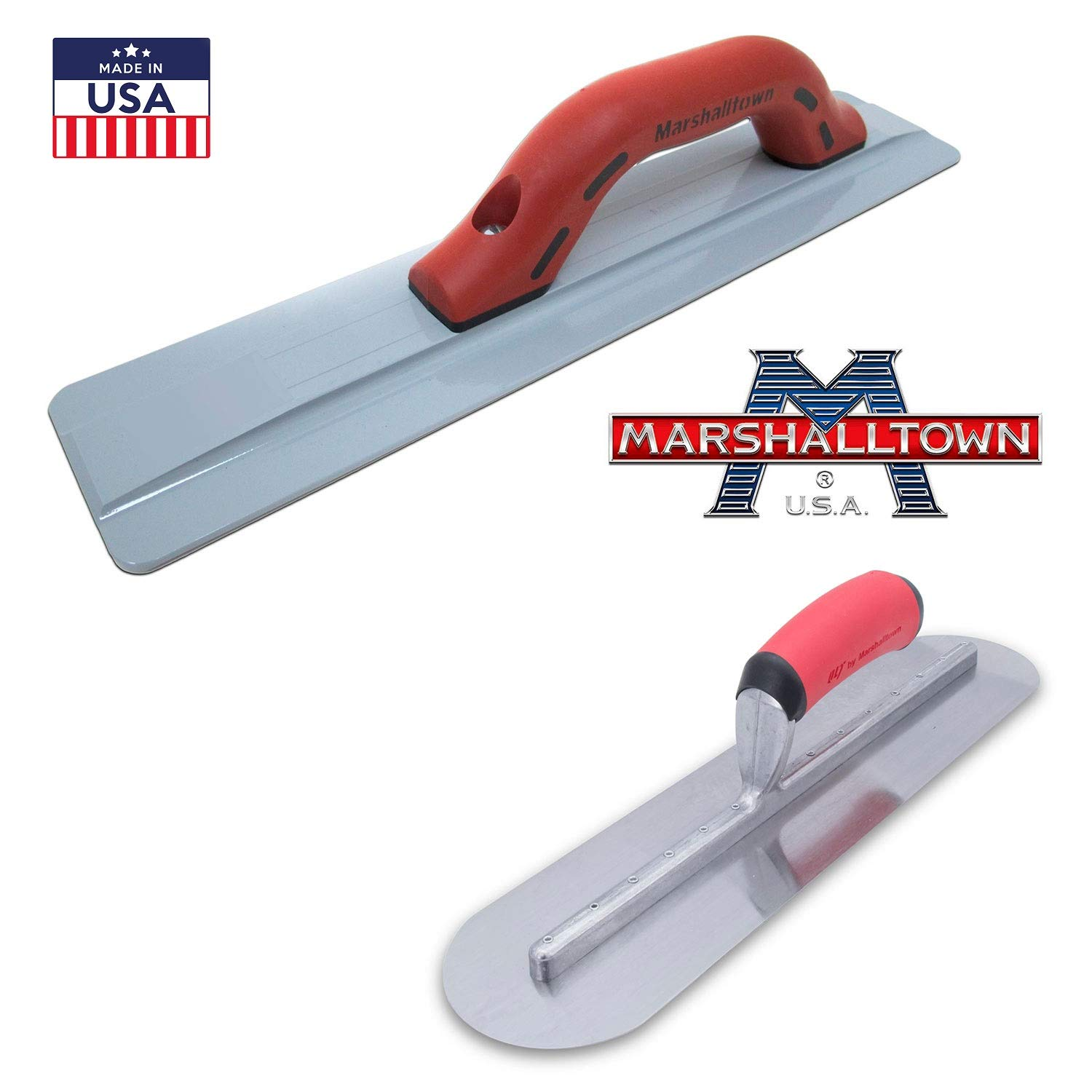 Marshalltown Concrete Finishing Tools - Magnesium Hand Float 18''x3'' 1/8 pair up with a 16''x4'' fully Rounded Finishing Trowel by The Quasar Concrete