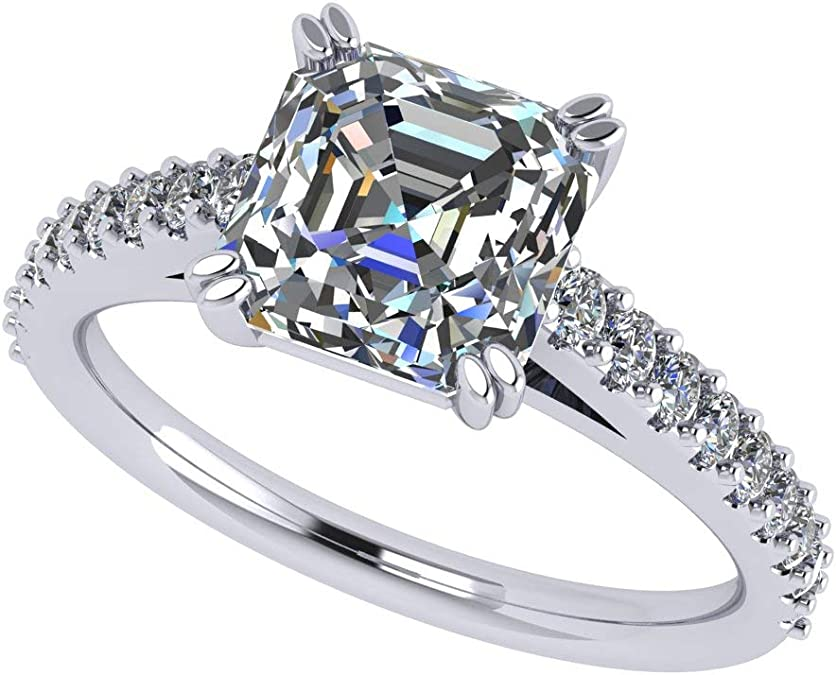 4.22 Ct Round Cut Solitaire Ring,CZ Studded Ring,925 Sterling Silver Ring,Studded Shank Ring,Square Party Wear Ring,Christmas Gift