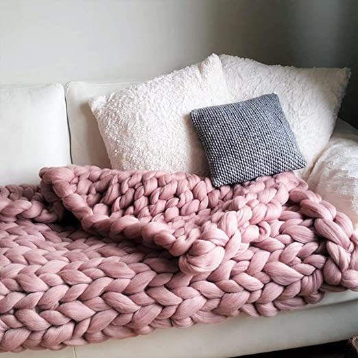 Chunky Knitted Thick Soft Blankets Hand Yarn Bulky Knit Throw Sofa /& Bed Blanket