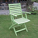 International Caravan FA-127-2CH-MGN-IC Furniture Piece Acacia Folding S/2 Ladder Back Armchair with Mint Green Finish