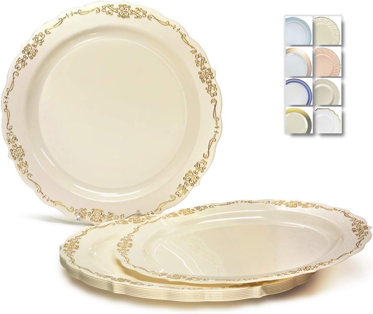 OCCASIONS 120 Plates Pack, Disposable Wedding Party Plastic Plates (7.5'' Appetizer/Dessert Plate, Verona Ivory & Gold) 61RFZOjZ3AL