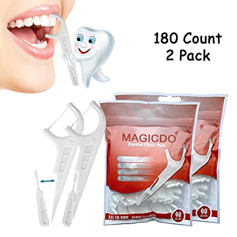 Magicdo 180pcs selecciones de hilo dental, multifunción incluyen hilo dental, selector de dientes,
