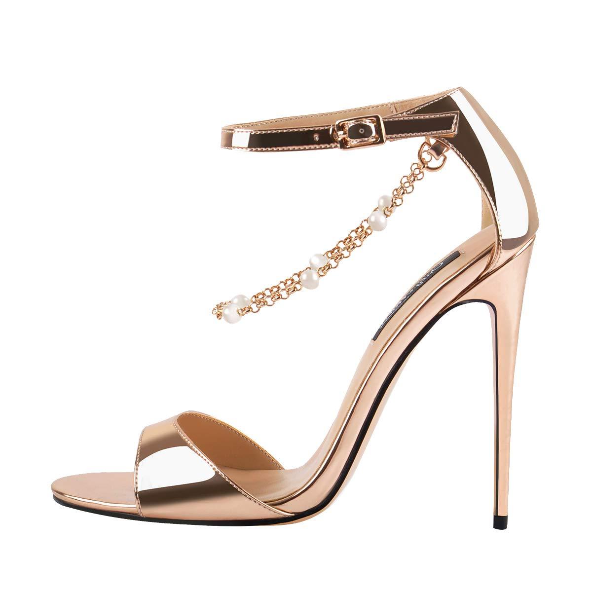 020c1c1397b Amazon.com | Onlymaker Womens Beaded Chain Ankle Strappy Stilettos ...