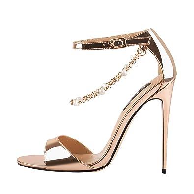 9243ef90cf3e7 Onlymaker Womens Gold Sandals Ankle Strap Open Toe Stilettos High Heel  Metal Chain Pearl Decoration Summer