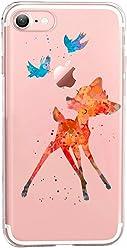 Girlscases® | iPhone 8/7 Hülle | Im REH/Rehkitz Motiv Muster | in bunt | Fashion Case transparente Schutzhülle aus Silikon