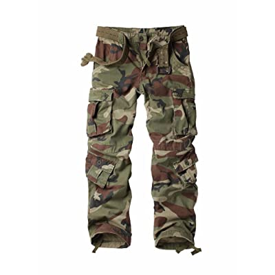 AUSZOSLT Women's Casual Loose Fit with 8 Pockets Cargo Pants Plus Size Camouflage Work Pants at Women's Clothing store